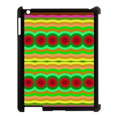 Circles And Waves                                              			apple Ipad 3/4 Case (black) by LalyLauraFLM