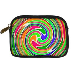 Colorful Whirlpool Watercolors                                                	digital Camera Leather Case by LalyLauraFLM