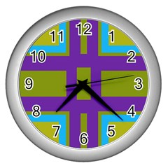 Angles And Shapes                                                 			wall Clock (silver) by LalyLauraFLM