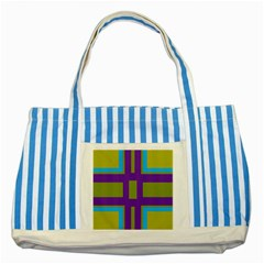 Angles And Shapes                                                 			striped Blue Tote Bag by LalyLauraFLM