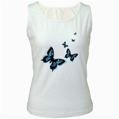 Butterflies Women s White Tank Top by TRENDYcouture