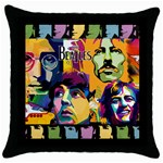 Beatles Black Throw Pillow Case Front