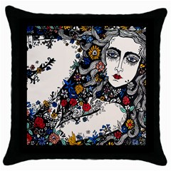Flower Woman Square Black Throw Pillow Case