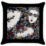 Flower woman Square Black Throw Pillow Case Front