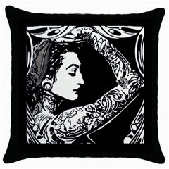 Tattooed Gypsie Black Throw Pillow Case by DryInk