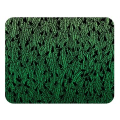 Green Ombre Feather Pattern, Black, Double Sided Flano Blanket (large) by Zandiepants