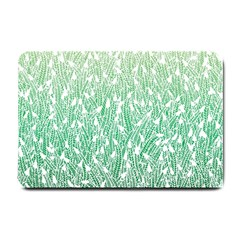 Green Ombre Feather Pattern, White, Small Doormat by Zandiepants