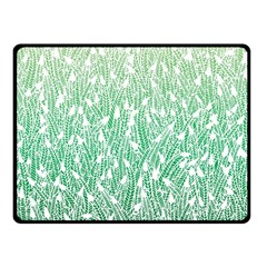 Green Ombre Feather Pattern, White, Fleece Blanket (small) by Zandiepants