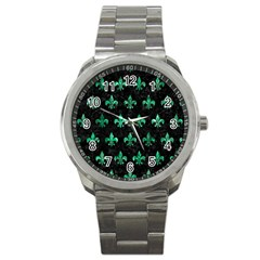 Royal1 Black Marble & Green Marble (r) Sport Metal Watch by trendistuff