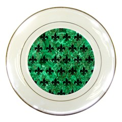 Royal1 Black Marble & Green Marble Porcelain Plate by trendistuff
