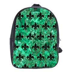 Royal1 Black Marble & Green Marble School Bag (large) by trendistuff