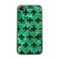 Royal1 Black Marble & Green Marble Apple Iphone 4 Case (clear) by trendistuff