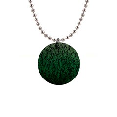 Green Ombre Feather Pattern, Black, 1  Button Necklace by Zandiepants