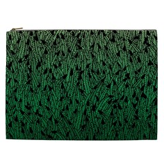 Green Ombre Feather Pattern, Black, Cosmetic Bag (xxl) by Zandiepants
