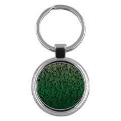 Green Ombre Feather Pattern, Black, Key Chain (round) by Zandiepants