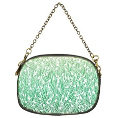 Green Ombre Feather Pattern, White, Chain Purse (two Sides) by Zandiepants