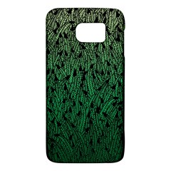 Green Ombre Feather Pattern, Black, Samsung Galaxy S6 Hardshell Case  by Zandiepants