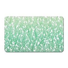 Green Ombre Feather Pattern, White, Magnet (rectangular) by Zandiepants