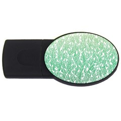 Green Ombre Feather Pattern, White, Usb Flash Drive Oval (4 Gb) by Zandiepants