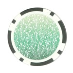 Green Ombre feather pattern, white, Poker Chip Card Guard Front
