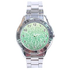 Green Ombre Feather Pattern, White, Stainless Steel Analogue Watch by Zandiepants