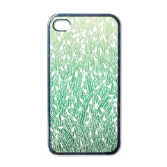 Green Ombre Feather Pattern, White, Apple Iphone 4 Case (black) by Zandiepants