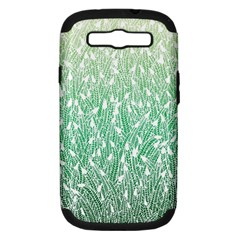 Green Ombre Feather Pattern, White, Samsung Galaxy S Iii Hardshell Case (pc+silicone) by Zandiepants