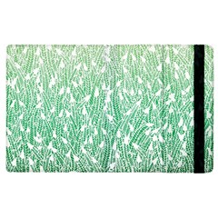Green Ombre Feather Pattern, White, Apple Ipad 3/4 Flip Case by Zandiepants