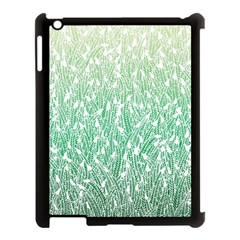 Green Ombre Feather Pattern, White, Apple Ipad 3/4 Case (black) by Zandiepants