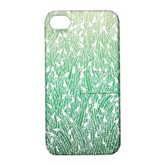 Green Ombre Feather Pattern, White, Apple Iphone 4/4s Hardshell Case With Stand by Zandiepants