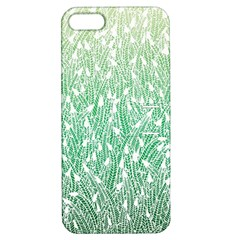 Green Ombre Feather Pattern, White, Apple Iphone 5 Hardshell Case With Stand by Zandiepants