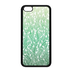 Green Ombre Feather Pattern, White, Apple Iphone 5c Seamless Case (black) by Zandiepants