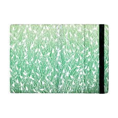 Green Ombre Feather Pattern, White, Apple Ipad Mini 2 Flip Case by Zandiepants