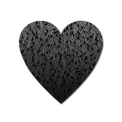 Grey Ombre Feather Pattern, Black, Magnet (heart)