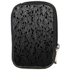 Grey Ombre Feather Pattern, Black, Compact Camera Leather Case by Zandiepants