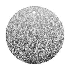 Grey Ombre Feather Pattern, White, Ornament (round) by Zandiepants