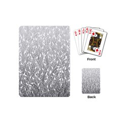 Grey Ombre Feather Pattern, White, Playing Cards (mini) by Zandiepants