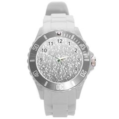 Grey Ombre Feather Pattern, White, Round Plastic Sport Watch (l) by Zandiepants