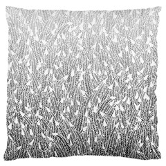 Grey Ombre Feather Pattern, White, Large Flano Cushion Case (two Sides) by Zandiepants