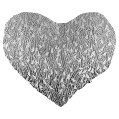 Grey Ombre Feather Pattern, White, Large 19  Premium Flano Heart Shape Cushion by Zandiepants