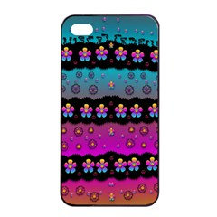 Rainbow  Big Flowers In Peace For Love And Freedom Apple Iphone 4/4s Seamless Case (black) by pepitasart