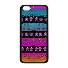 Rainbow  Big Flowers In Peace For Love And Freedom Apple Iphone 5c Seamless Case (black) by pepitasart