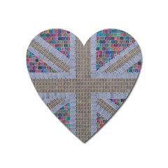 Multicoloured Union Jack Heart Magnet by cocksoupart