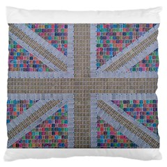 Multicoloured Union Jack Large Flano Cushion Case (one Side) by cocksoupart
