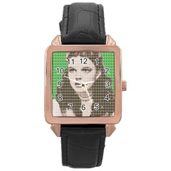 Over The Rainbow   Green Rose Gold Leather Watch  by cocksoupart