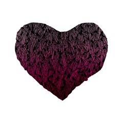 Pink Ombre Feather Pattern, Black, Standard 16  Premium Heart Shape Cushion  by Zandiepants