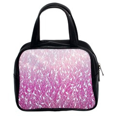Pink Ombre Feather Pattern, White, Classic Handbag (two Sides) by Zandiepants