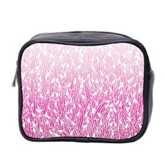 Pink Ombre Feather Pattern, White, Mini Toiletries Bag (two Sides) by Zandiepants