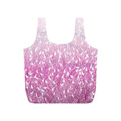Pink Ombre Feather Pattern, White, Full Print Recycle Bag (s) by Zandiepants