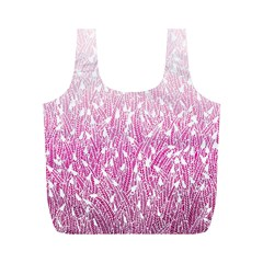 Pink Ombre Feather Pattern, White, Full Print Recycle Bag (m) by Zandiepants
